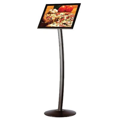 "11"" x 17"" Curved Floor Sign & Menu Stand Black Landscape & Portrait"