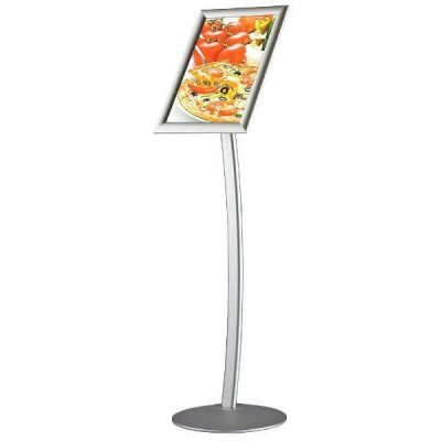 "11"" x 17"" Curved Floor Sign & Menu Stand Silver Landscape & Portrait"