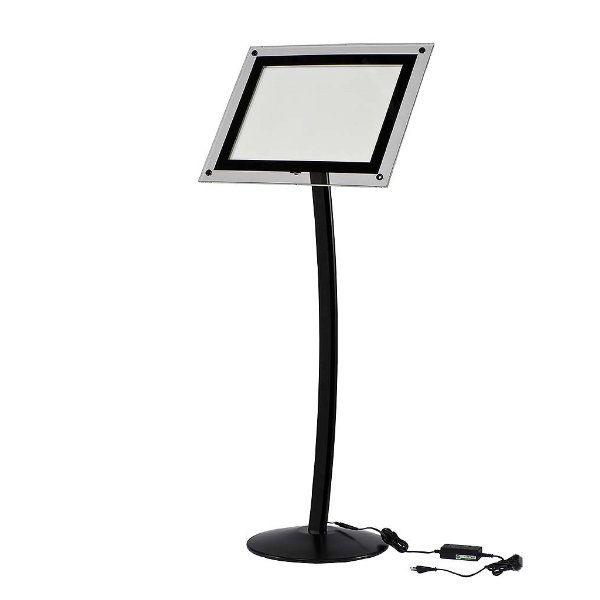 """11"""" x 17"""" Curved LED Floor Sign & Menu Stand Black Landscape Portrait"""