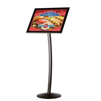 "18"" x 22"" Curved Floor Sign & Menu Stand Black Landscape & Portrait"