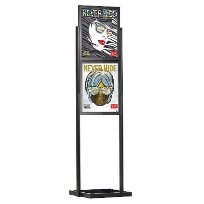 "18""w x 24""h Eco Poster Display Stand Black 2 Tiers Double Sided"