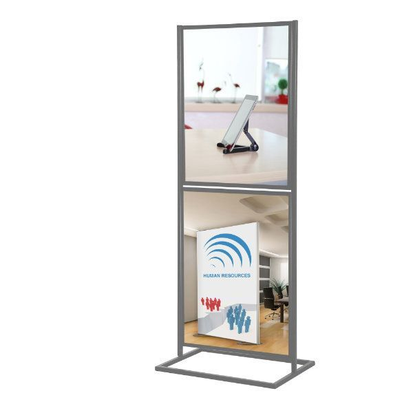 """18""""w x 24""""h Metal Poster Display Stand Stand With 2 Tier Silver"""