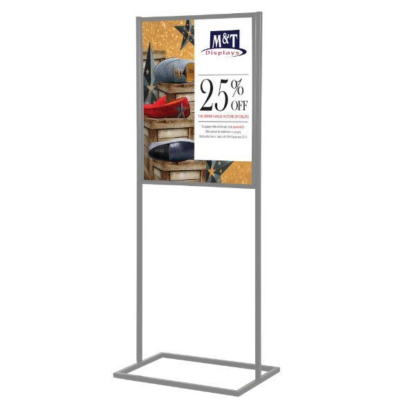 """18""""w x 24""""h Metal Poster Display Stand With 1 Tier Silver"""