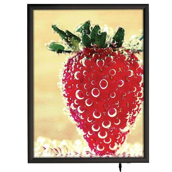 """18""""w x 24""""h Smart Poster LED Light Box 1"""" Black Aluminium Profile"""