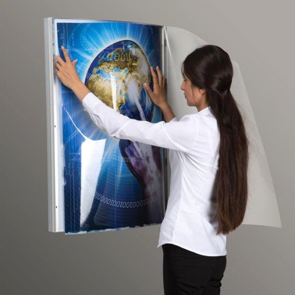 "20""w x 30""h Convex Poster LED Light Box Silver Aluminum Single Sided"
