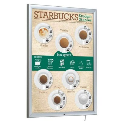 "22"" x 28"" Lockable Weatherproof Smart LED Light Box 1.38"" Profile"