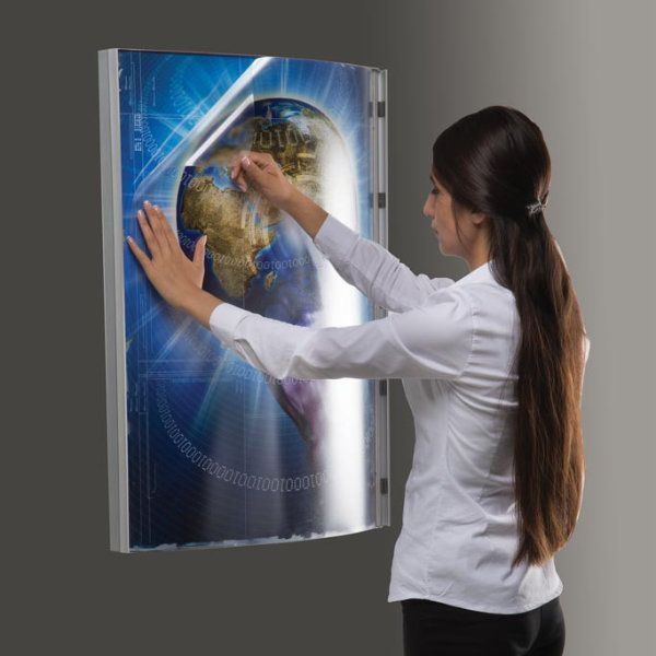 "22""w x 28""h Convex Poster LED Light Box Silver Aluminum Single Sided"