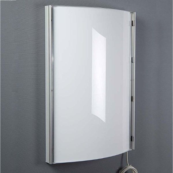 "22""w x 28""h Convex Poster Light Box Silver Aluminum Single Sided"