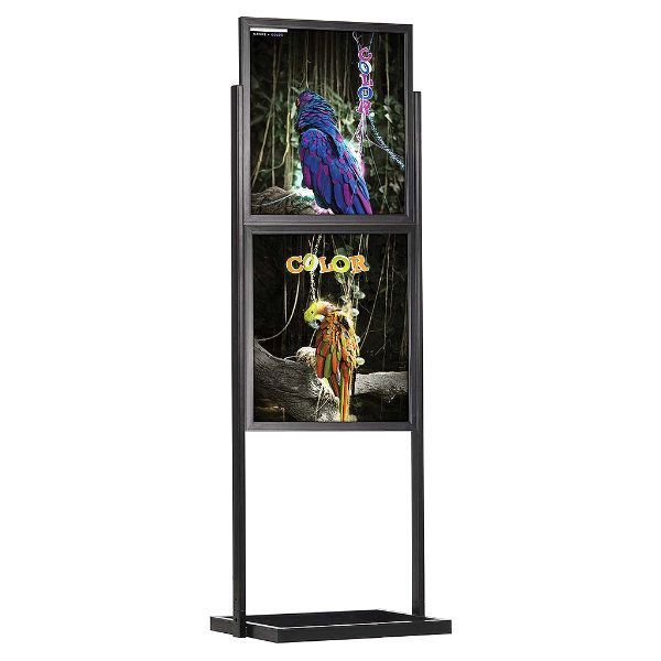 """22""""w x 28""""h Eco Poster Display Stand Black 2 Tiers Double Sided"""