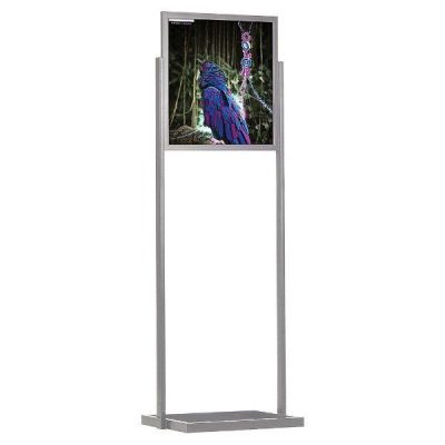 "22""w x 28""h Eco Poster Display Stand Silver 1 Tier Double Sided"