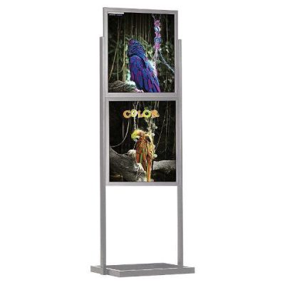 "22""w x 28""h Eco Poster Display Stand Silver 2 Tiers Double Sided"