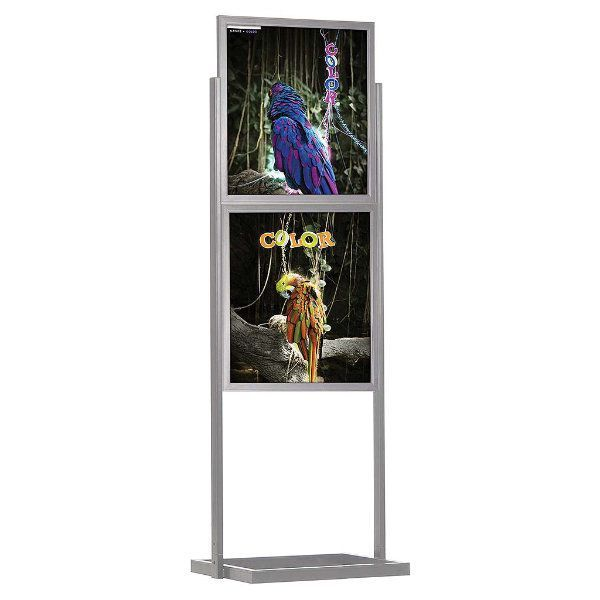 """22""""w x 28""""h Eco Poster Display Stand Silver 2 Tiers Double Sided"""