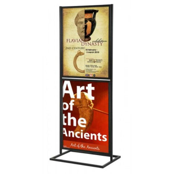 """22""""w x 28""""h Metal Poster Display Stand With 2 Tier Black"""