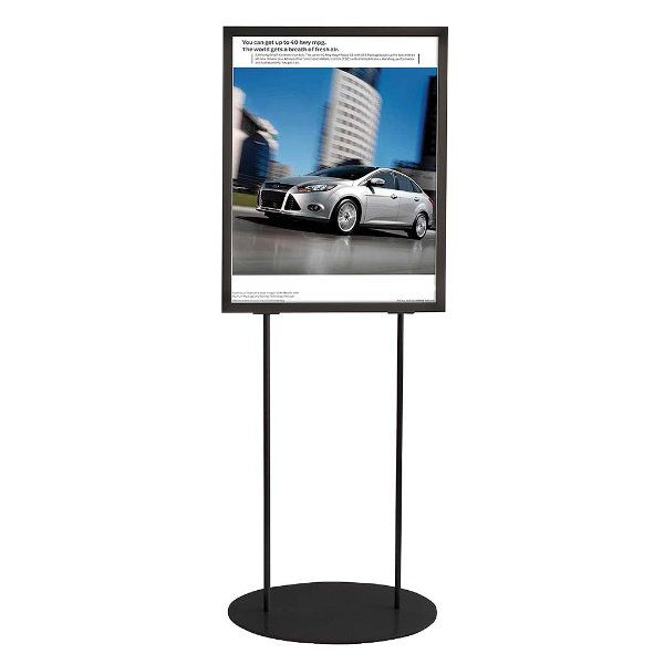 """22""""w x 28""""h Oval Poster Display Stand - Black Double Sided"""