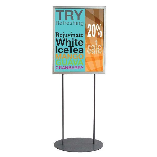 """22""""w x 28""""h Oval Poster Display Stand - Silver Double Sided"""