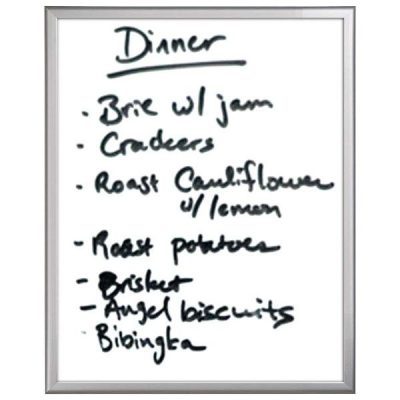 """22""""w x 28""""h Write On Board Dry Wipe Aluminum Frame, White Surface"""