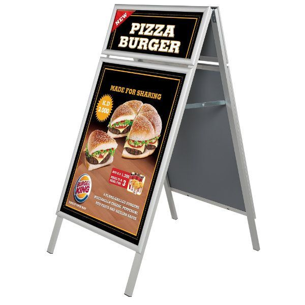22x28 A Frame Board Sidewalk Sign with Header Silver Aluminum