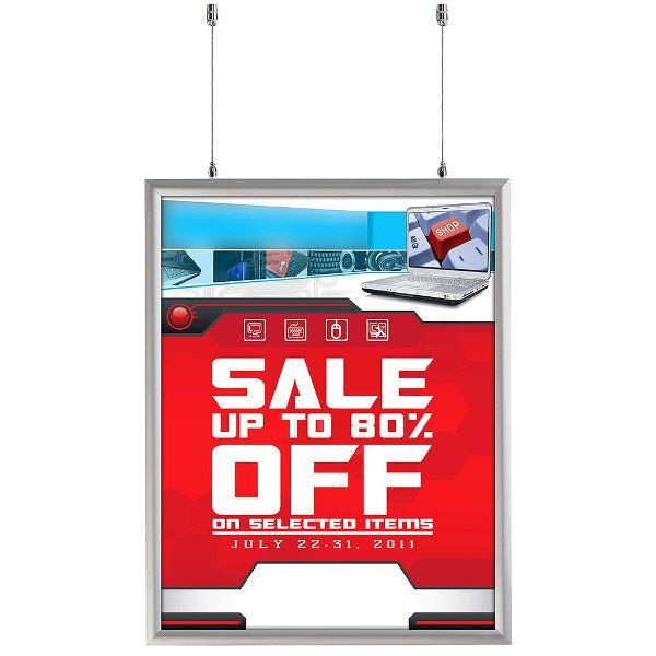 22x28 Double Sided Snap Poster Frame - 1 inch Silver Mitred Profile