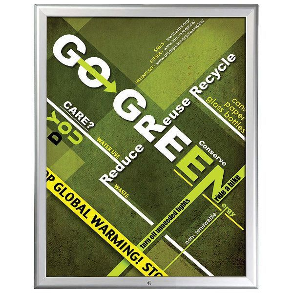 22x28 Lockable Snap Poster Frame - 1.25 inch Silver Mitred Profile