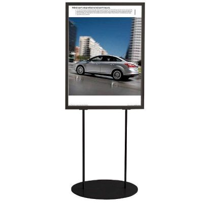 "24""w x 26""h Oval Poster Display Stand - Black Double Sided"