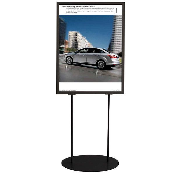 """24""""w x 26""""h Oval Poster Display Stand - Black Double Sided"""