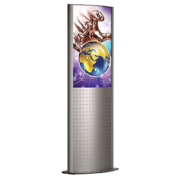 """24""""w x 36""""h Deco Totem Poster Display Stand Silver Double Sided"""