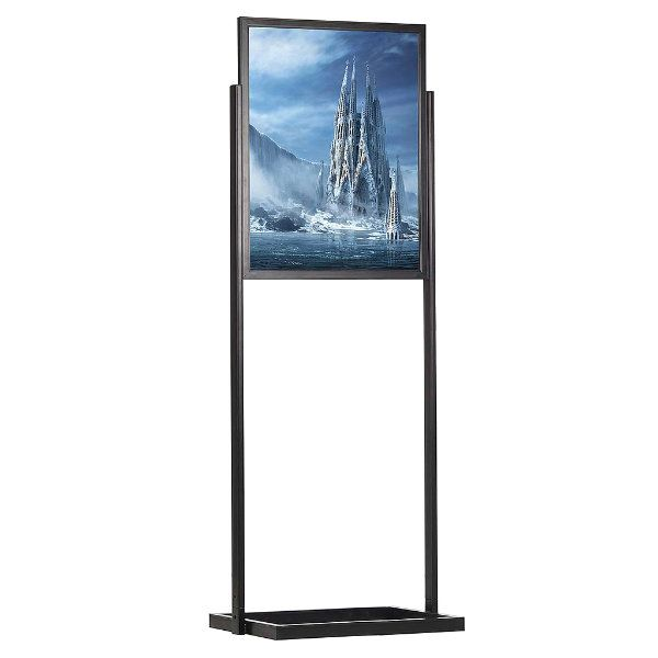 "24""w x 36""h Eco Poster Display Stand Black 1 Tier Double Sided"