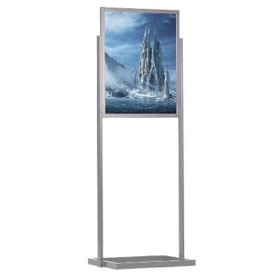 "24""w x 36""h Eco Poster Display Stand Silver 1 Tier Double Sided"