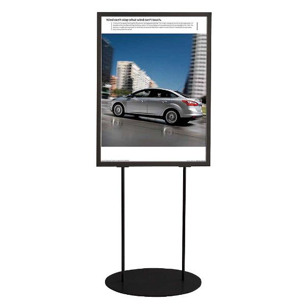 """24""""w x 36""""h Oval Poster Display Stand - Black Double Sided"""