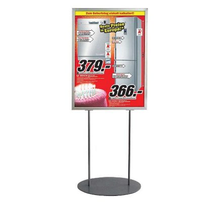 """24""""w x 36""""h Oval Poster Display Stand - Silver Double Sided"""