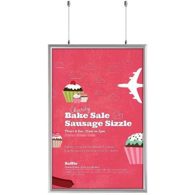 24x36 Double Sided Snap Poster Frame - 1 inch Silver Mitred Profile