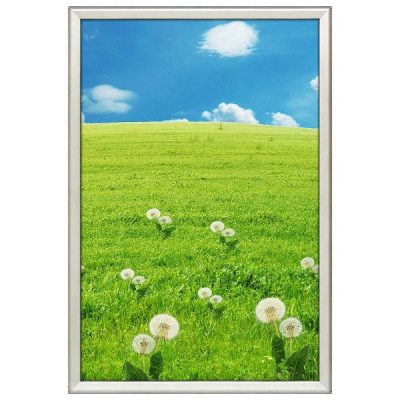 24x36 Snap Poster Frame - 1.25 inch Silver Profile, Safe Round Corner