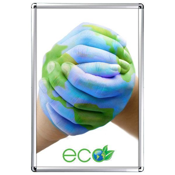 24x36 Snap Poster Frame - 1 inch Silver Profile, Round Corner