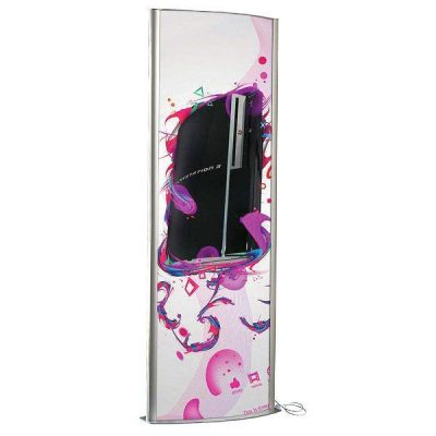 """27""""w x 77""""h Totem Poster Display Stand Double Sided, With Light"""