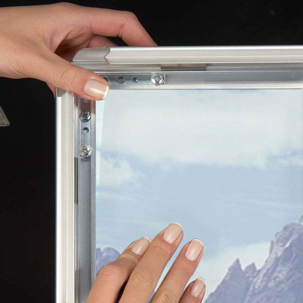 36x48 Snap Poster Frame - 1.25 inch Silver Profile, Mitred Corner