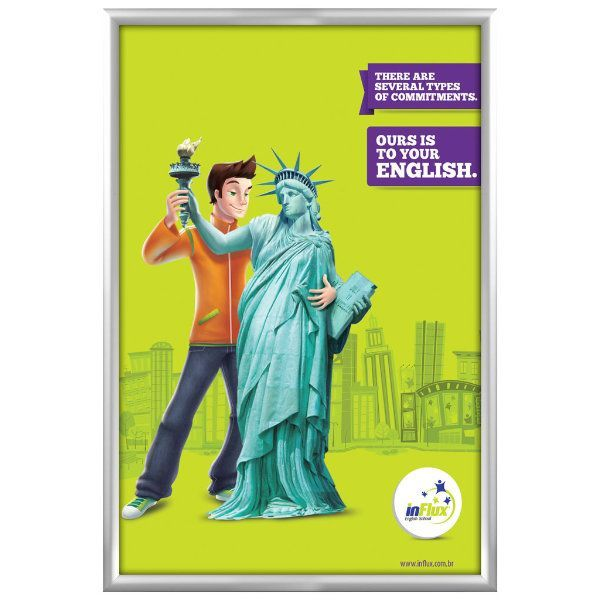 40x60 Snap Poster Frame - 1.77 inch Silver Profile, Mitred Corner