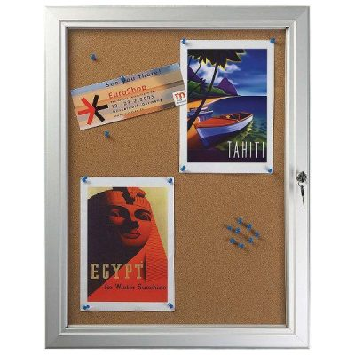 "4x(8.5""w x 11h"") Enclosed Cork Bulletin Board Outdoor Use"