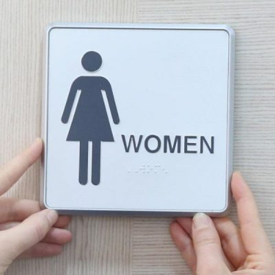 "6"" x 6"" Restroom Sign for Woman Aluminum"