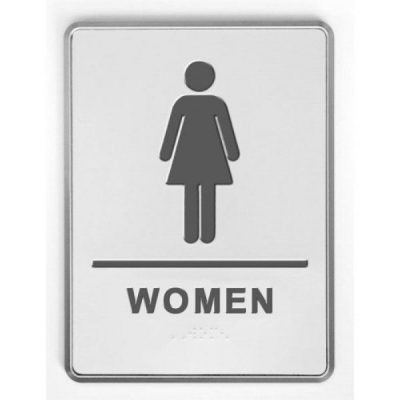 "6"" x 8"" Restroom Sign for Woman with Braille - Aluminum"