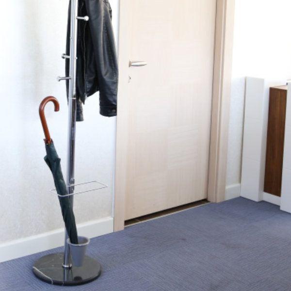 "68"" x 12"" Coat Hanger with Umbrella Console, Ladder Coat Rack, Silver"