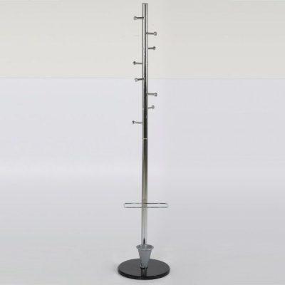 "68"" x 12"" Coat Hanger with Umbrella Console, Ladder Coat Rack, Silver"