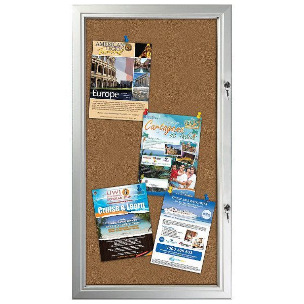 "6x(8.5""w x 11h"") Enclosed Cork Bulletin Board Outdoor Use"