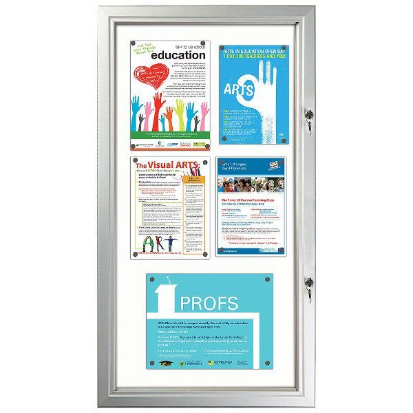 """6x(8.5""""w x 11h"""") Enclosed Magnetic Bulletin Board Outdoor Use"""