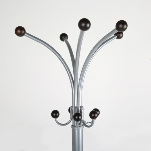 "74"" x 15"" Metal Tube & Marble Base Coat Hanger, Fountain Coat Rack"