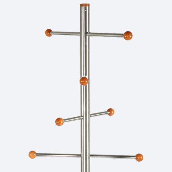 74x19 Stainless Steel Coat Hanger, Maze Coat Rack, Cherry