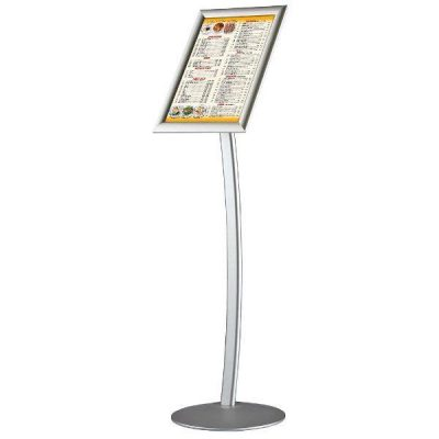 "8.5"" x 11"" Curved Floor Sign & Menu Stand Silver Landscape & Portrait"