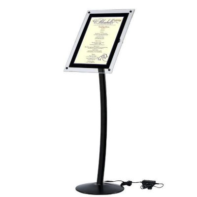 "8.5"" x 11"" Curved LED Floor Sign & Menu Stand Black Landscape Portrait"