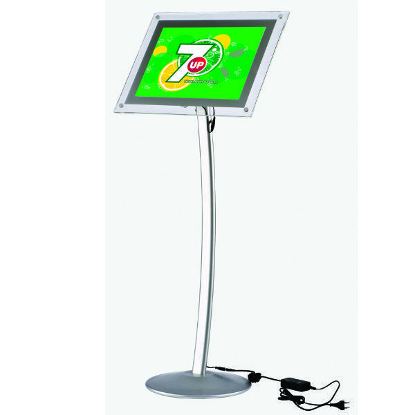 """8.5"""" x 11"""" Curved LED Floor Sign & Menu Stand Silver"""