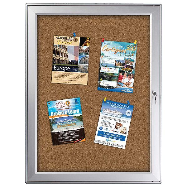 "9x(8.5"" x 11"") Premium Enclosed Cork Bulletin Board Outdoor Use"