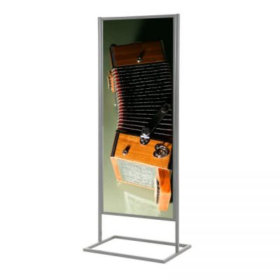 22x70 Metal Info Board Floor Stand with 1 Tier - Silver